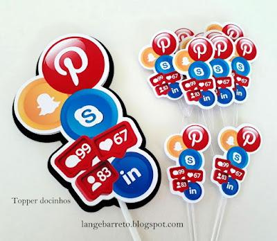 Topper docinhos redes sociais