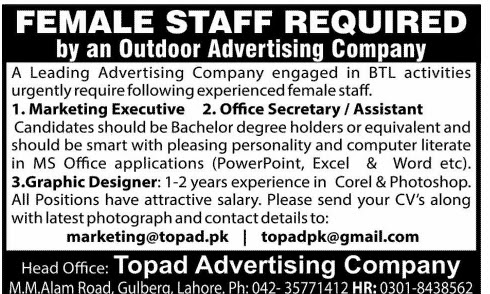 Female Staff Required for Advertising Company | Lahore Jobs ~ Jobs