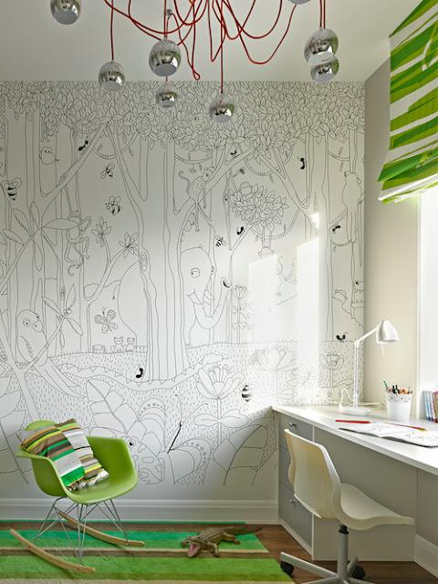 детская комната раскраска