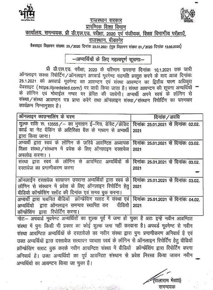 Rajasthan BSTC Counseling 2020 Result Seat Counseling Schedule Registration Date, Cutoff