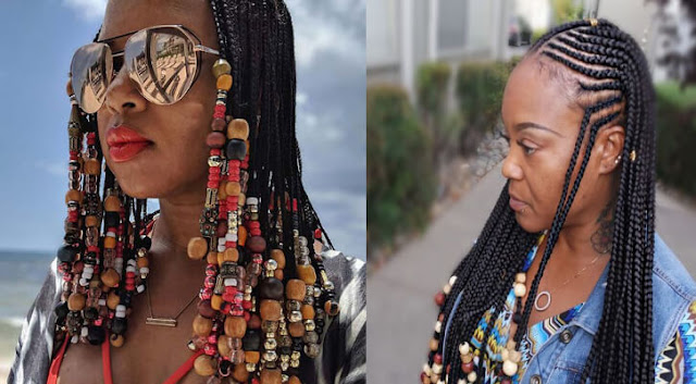 are very attractive ponytails that African American women can add for their heads ✘ 25 Trendy Fulani Braids With Beads For African American Women