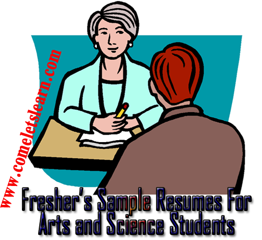 freshers samples resume formats and templates for arts and science