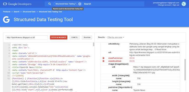 mengatasi error struktur data di webmaster tool