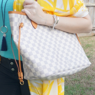 yellow kimono, Louis Vuitton MM damier azur neverfull on shoulder | away from the blue