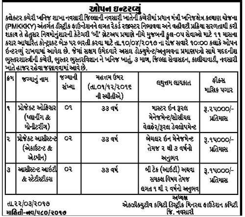 Collector Office (Mineral Branch) Navsari Project Officer & Assistant Recruitment 2017
