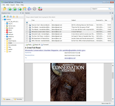 View Outlook emails in the viewing pane of PstViewer Lite.