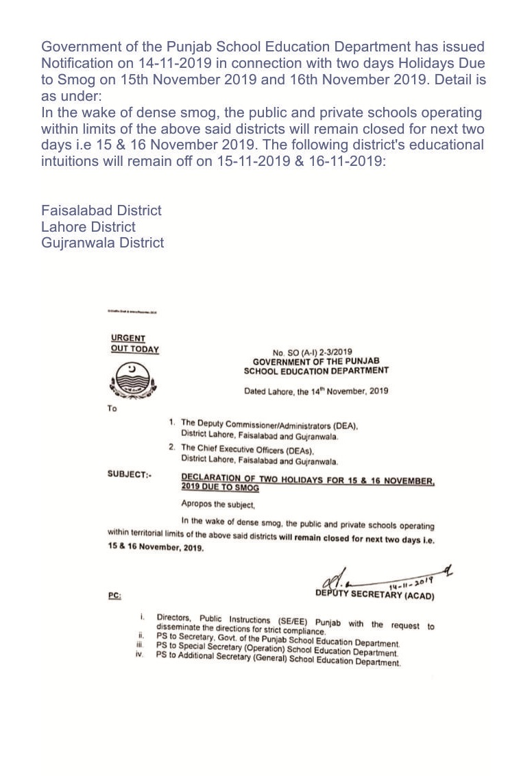 Smog in punjab,Punjab School Education Department,Holidays in Schools,Holidays notification,