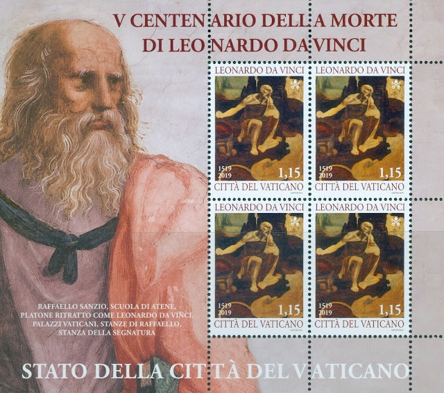 2019 Vatican City Death of Leonardo da Vinci Sheet