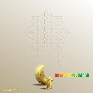 ramadan Mubarak image golden crescent moon lantern islamic patterns background