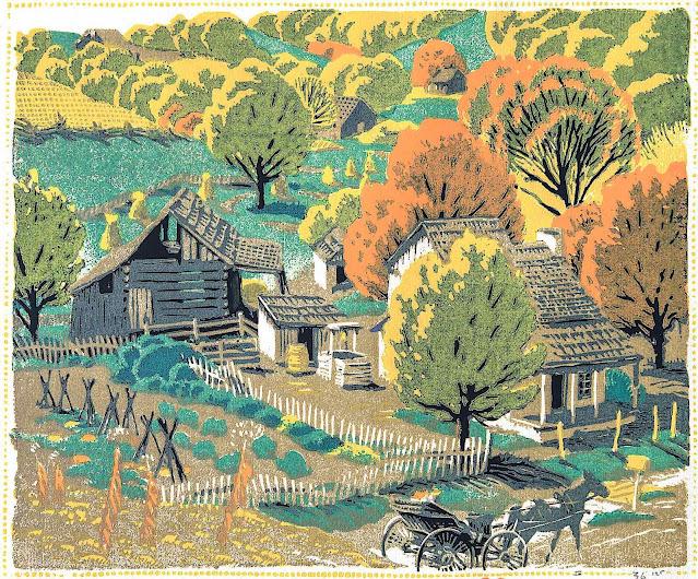 a Gustave Baumann 1927 print, rural landscape in Autumn