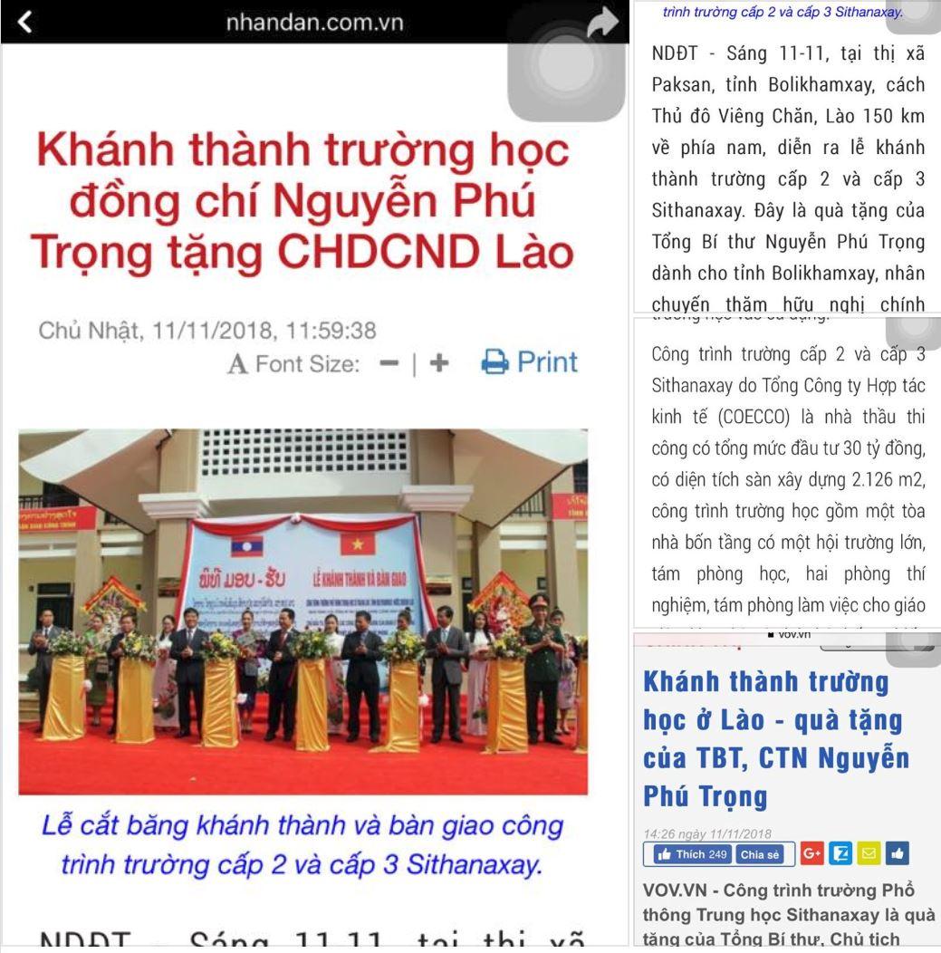 Những bài báo liên quan đến  quà tặng  của ông TBT với nhà nước Lào. 70b4d74ae47da