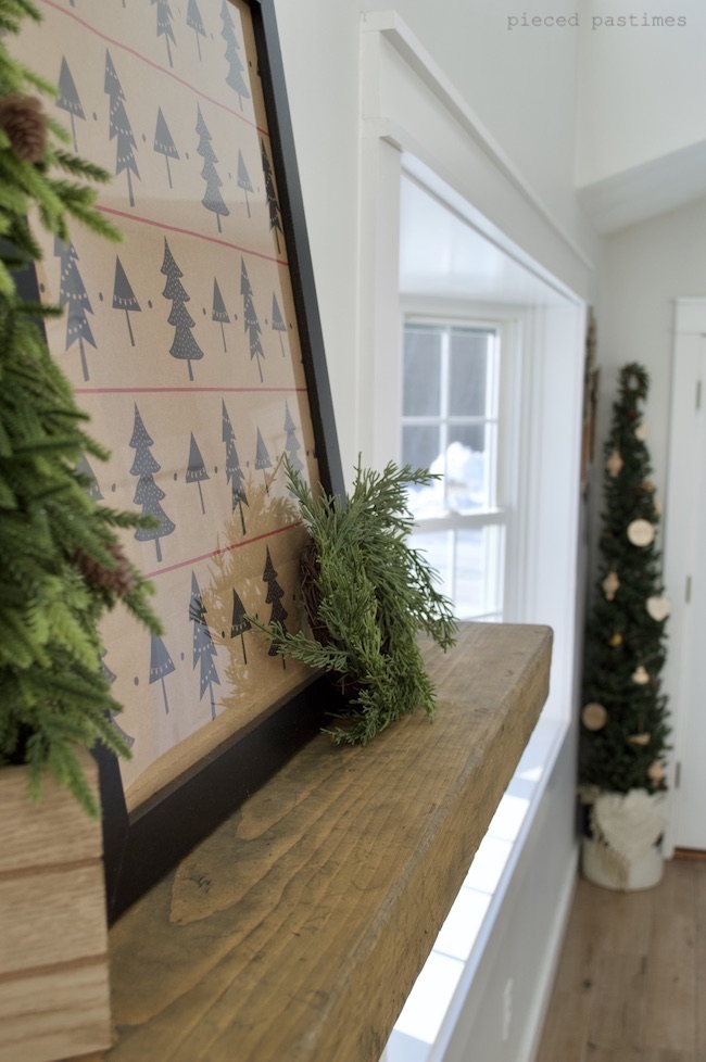 Minimalist Christmas Mantel at Pieced Pastimes