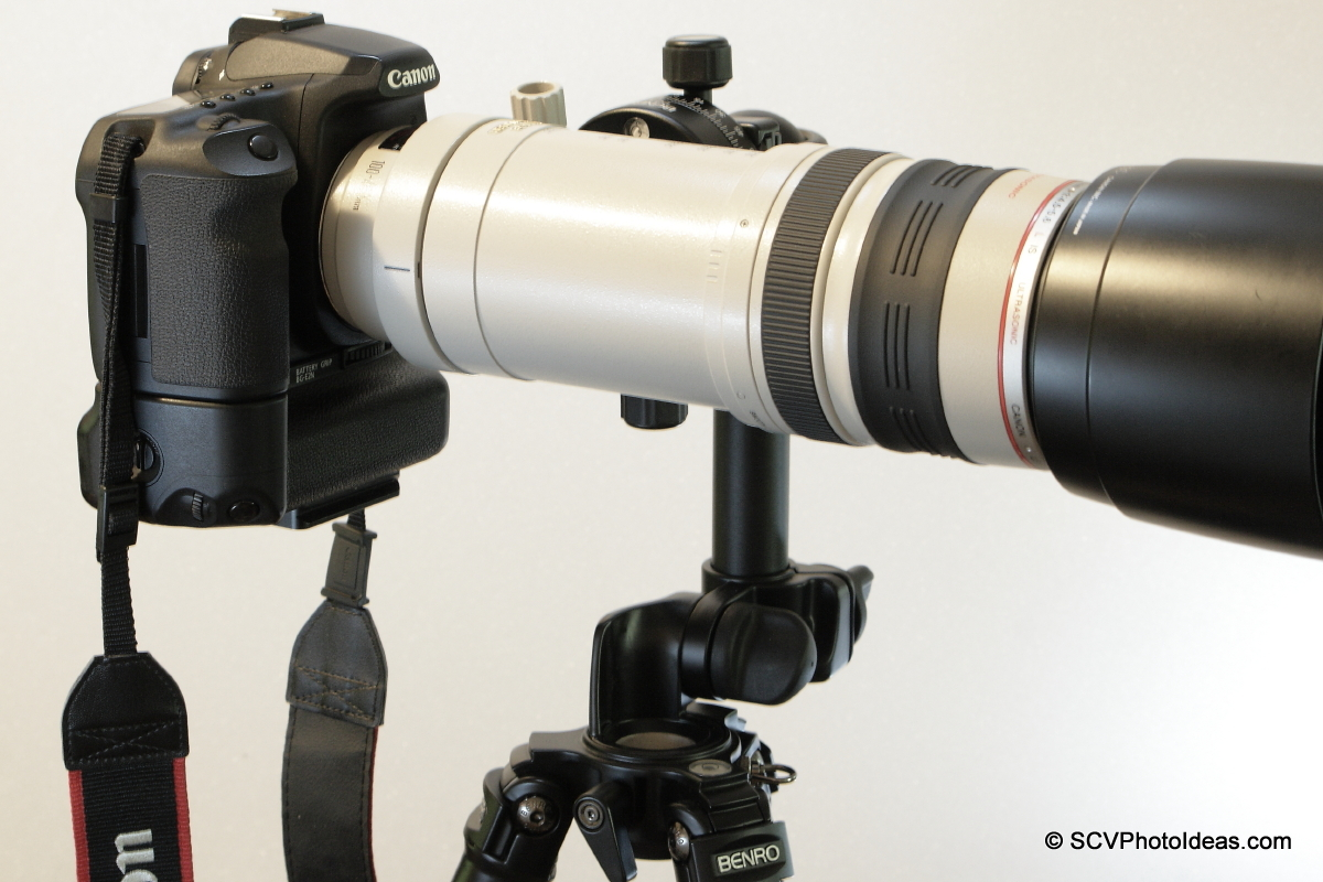 Alternative Gimbal Head w/ Canon EF 100-400 L IS USM & Canon EOS 50D side