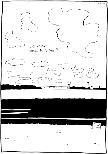 """Black and white illustration of the Tempelhof airfield in Berlin, with a wide sky full of clouds above the trees, field and airport terminal building. Text in the sky says """"where does my help come from?"""" in German."""