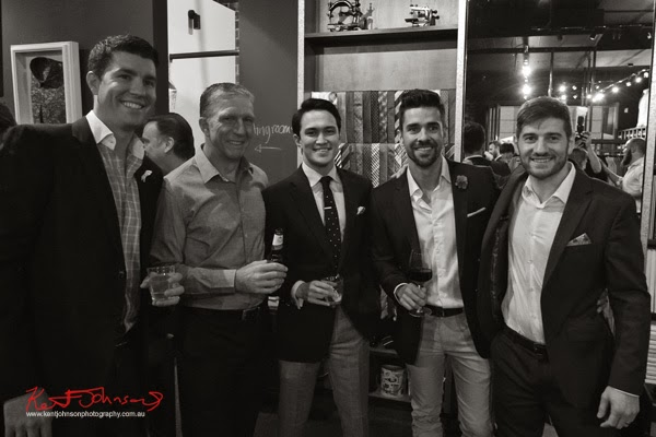 Finalists Allan Bolton, Chris Orr, Julian Kuo, Joris Cuesta with Justin Marmot; Ganton Man competition at Shirt Bar Sydney - Photography by Kent Johnson.