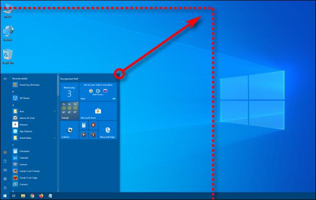 تغيير حجم قائمة ابدأ في Windows 10 بشكل قطري
