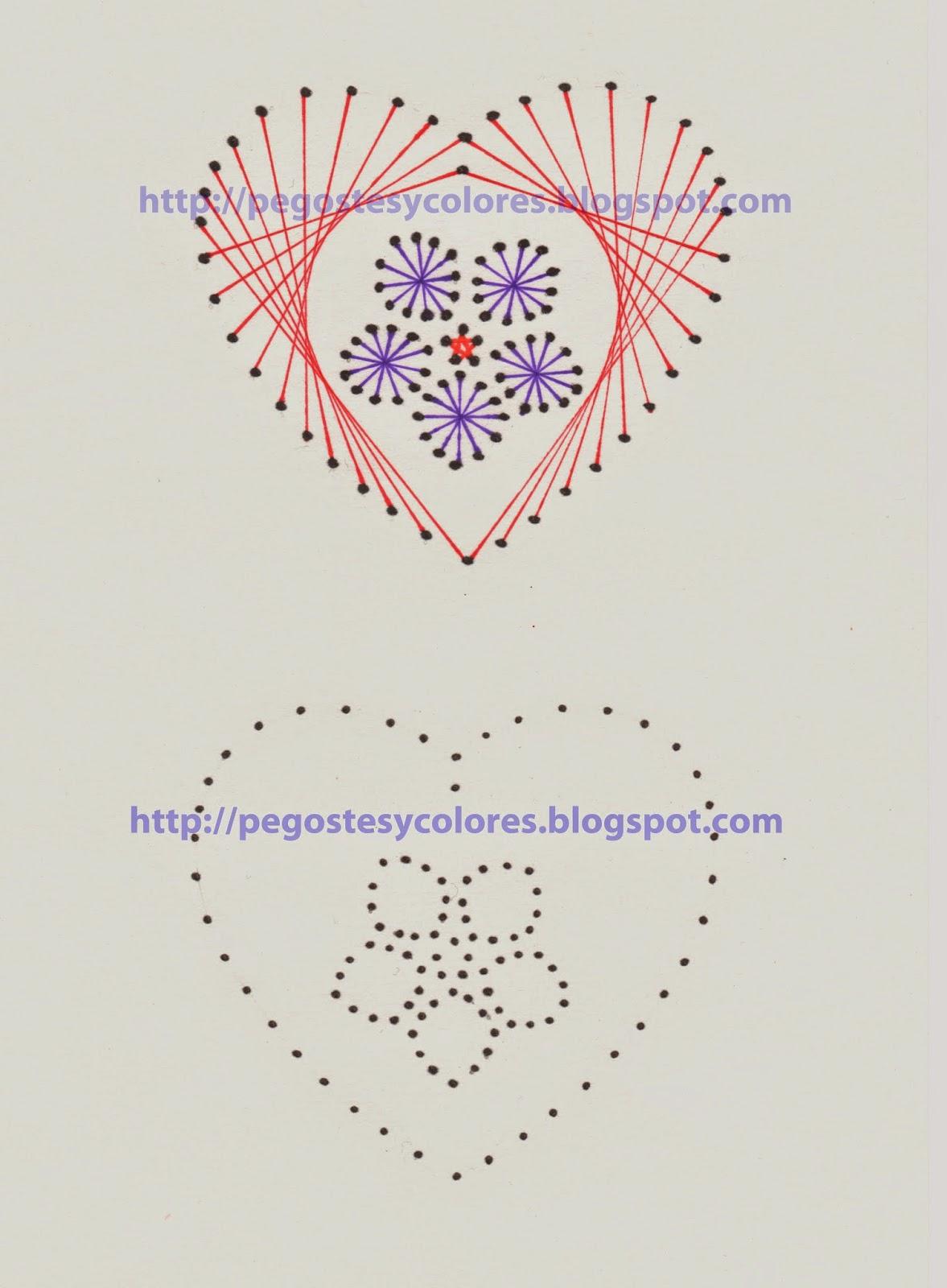 Pegostes y Colores: Tarjeta de Corazon con Flor Bordada en Papel