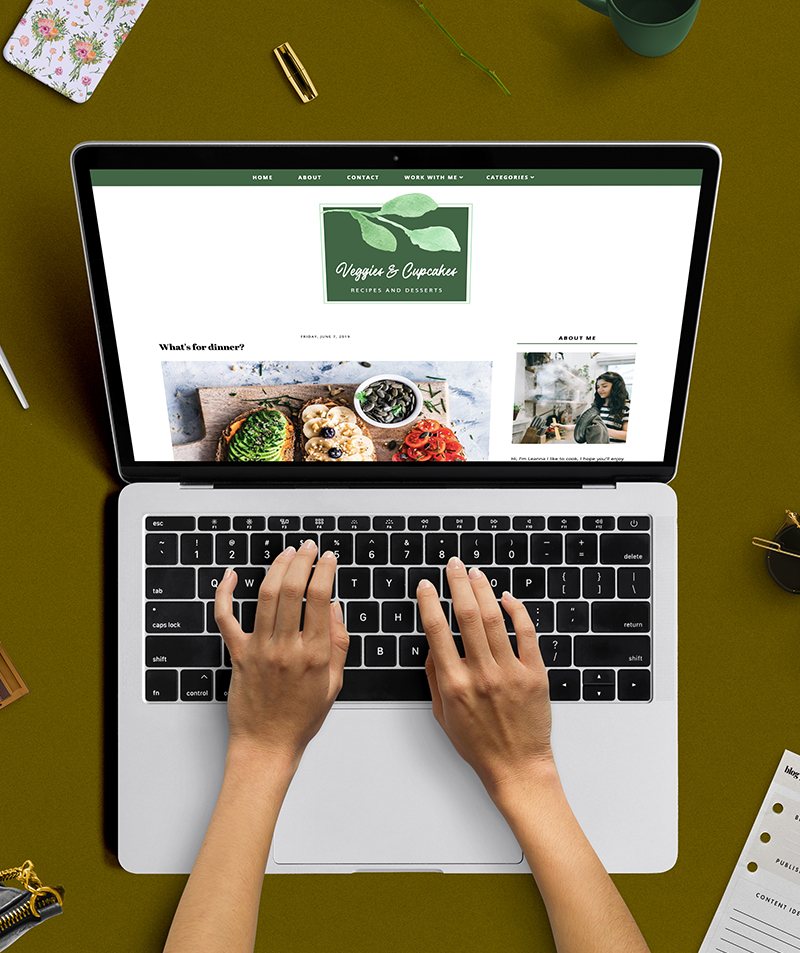 Responsive blogger template veggies and cupcake
