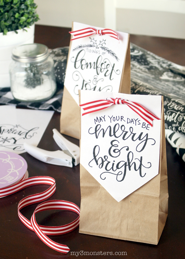 "Download these super-cute hand-lettered holiday designs from my3monsters.com today on Lolly Jane.  It's easier than you might think to make ""custom"" treat bags!"