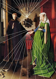 The Arnolfini Portrait by Jan van Eyck has distorted linear perspective in order to fill details into a room by convex mirror