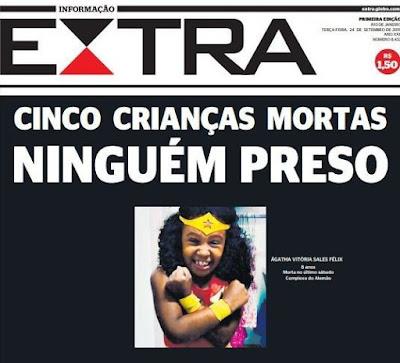 Capa Extra. 5 crianças mortas e ninguém preso