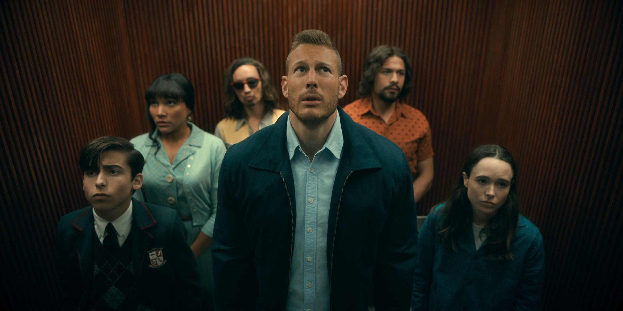 Luther, Diego, Allison, Klaus, Númro 5 y Vanya en la segunda temporada de The Umbrella Academy