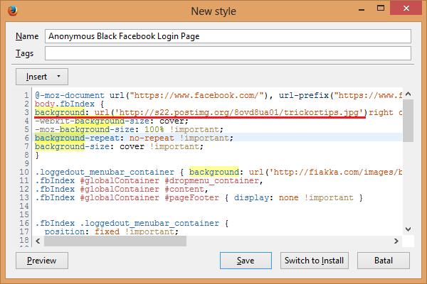Cara Mengganti Tema dan Backround Facebook di Mozila Firefox