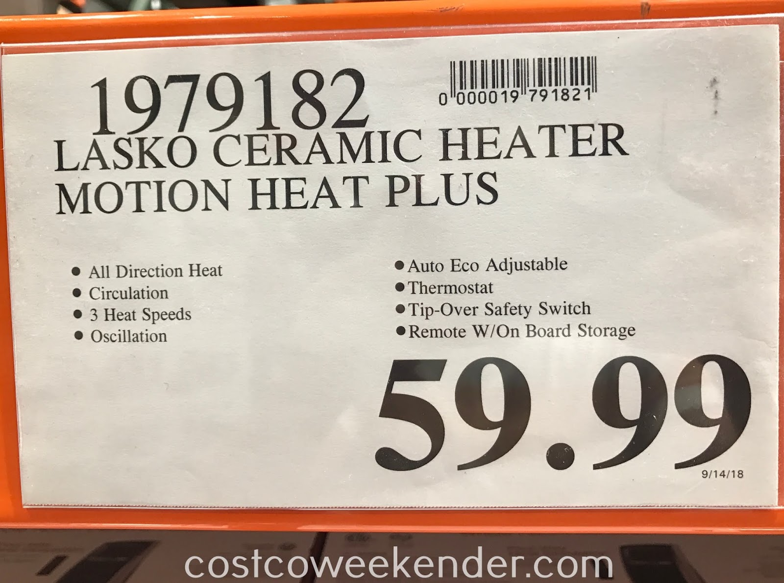 Deal for the Lasko Whole Room Ceramic Heater at Costco
