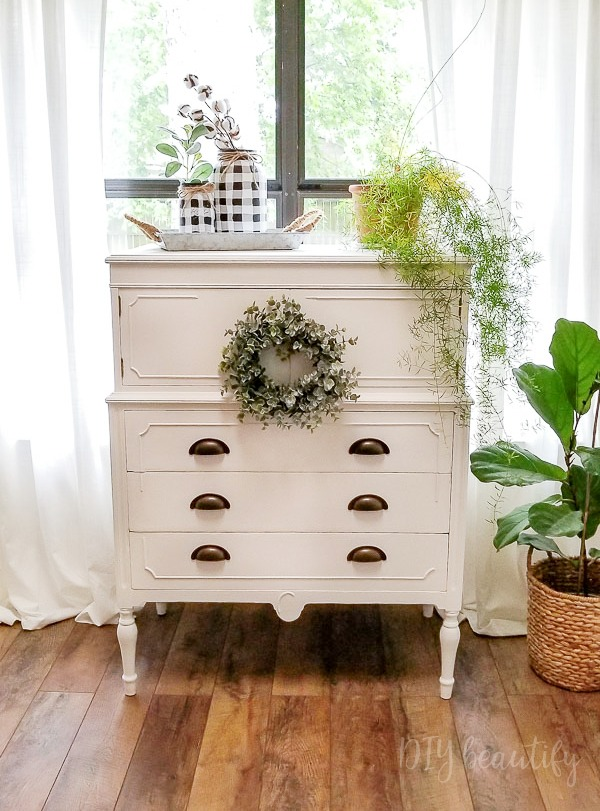 cottage white dresser makeover
