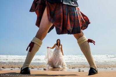 Cheerful Scottish bridegroom and his bride