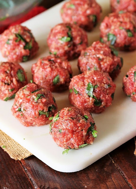 Rolled Homemade Meatballs Before Cooking Image
