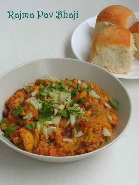 Rajma Pav Bhaji, Red Kidney beans Pav Bhaji
