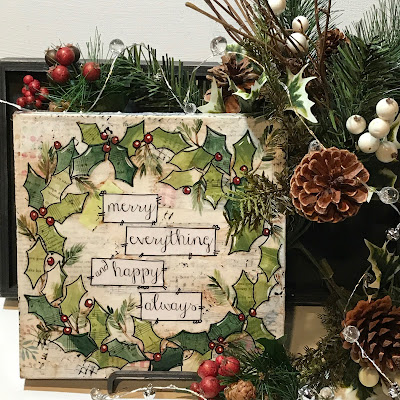 heartfelt painting, holly berry wreath