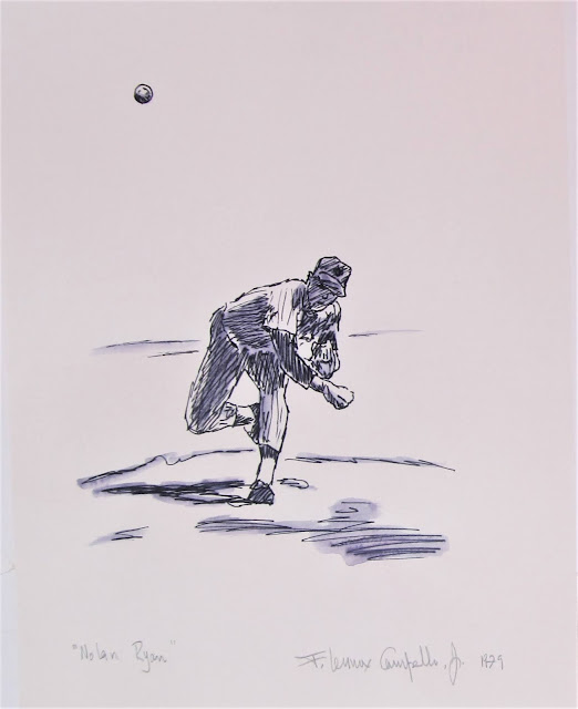 Nolan Ryan - Pen and ink on paper, circa 1979 by F. Lennox Campello