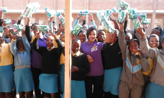 Hollywoodbets Estcourt team Team on Mandela Day 2016 purchased sanitary towels for the girls at  Weenen Combined School