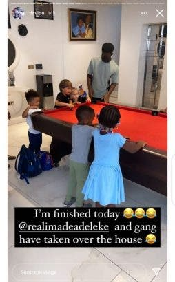 I'm finished today – Davido shares adorable photo of what his daughter and her friends did to his house