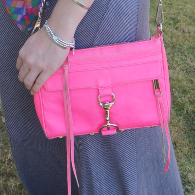 Rebecca Minkoff neon pink mini MAC and pinstripe maxi skirt | away from the blue