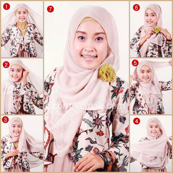 tutorial mudah mengenakan hijab segi empat untuk sehari-hari