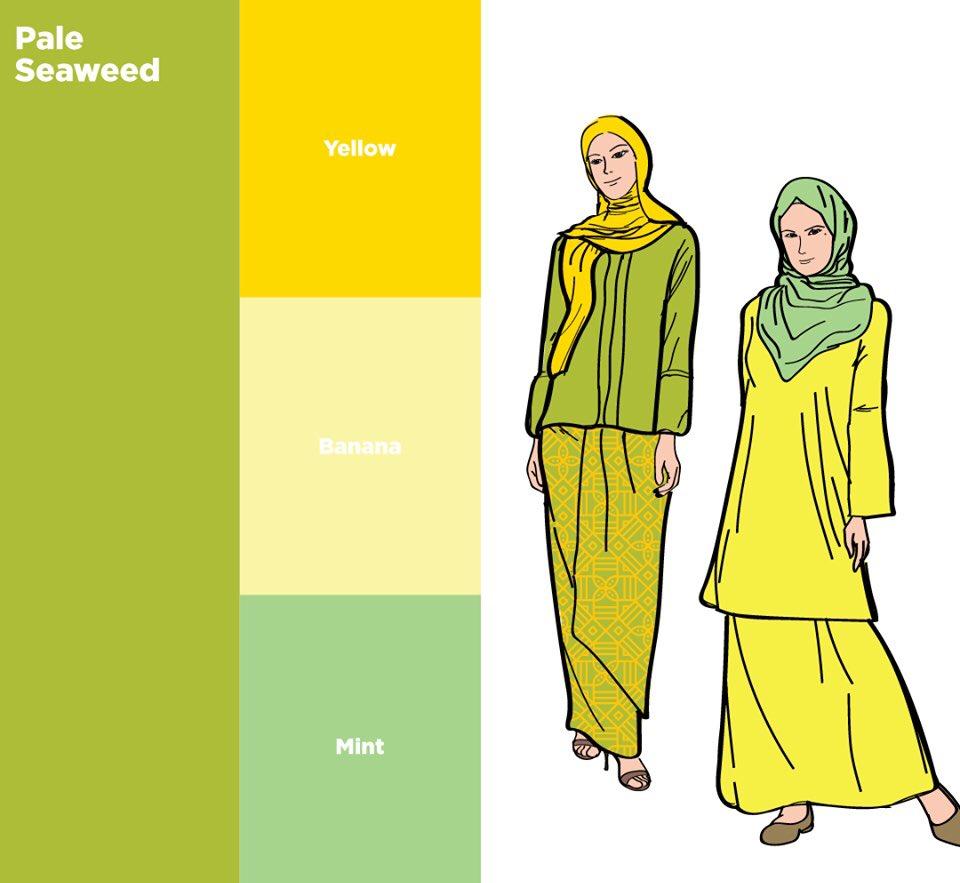 cara tips padanan warna tudung dan baju raya 2020