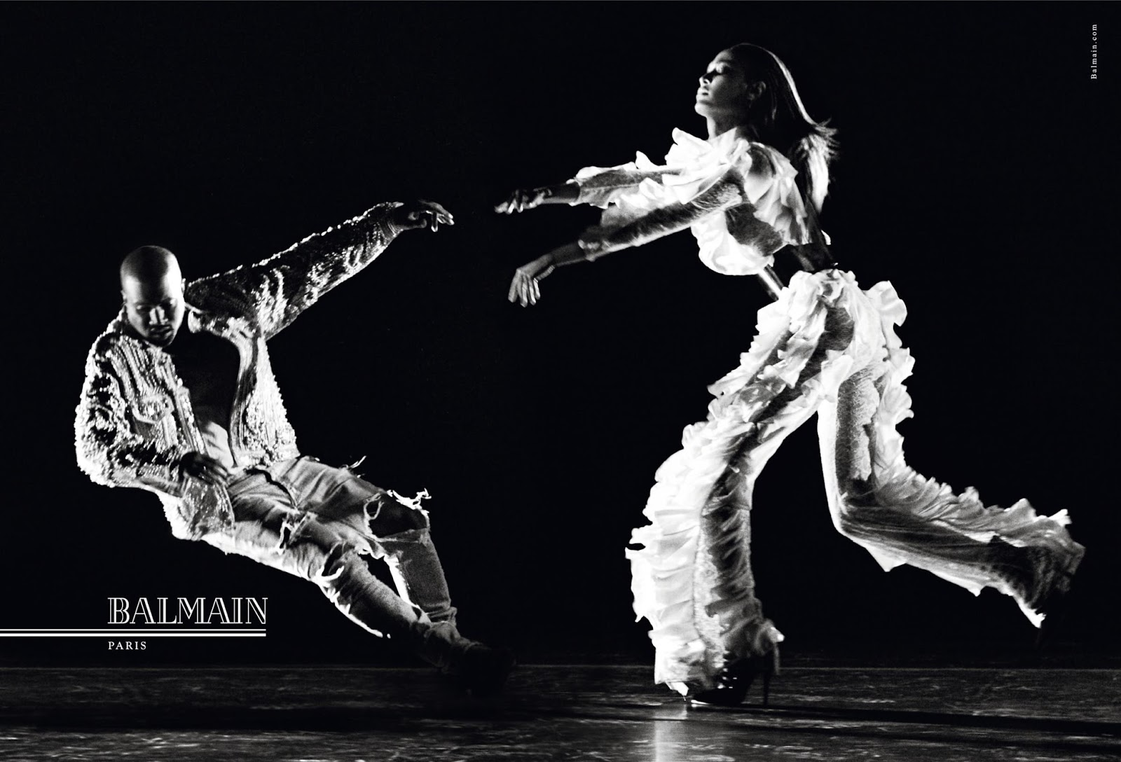 First Look: Kanye West & Joan Smalls for Balmain Autumn/Winter 2016 Campaign