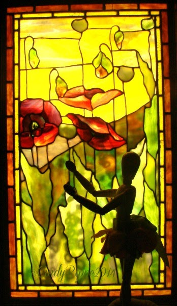Flora's Art Adventure with Tiffany glass Poppies