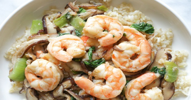 Garlicky Shrimp Stir-fry With Shiitakes And Bok Choy Recipe