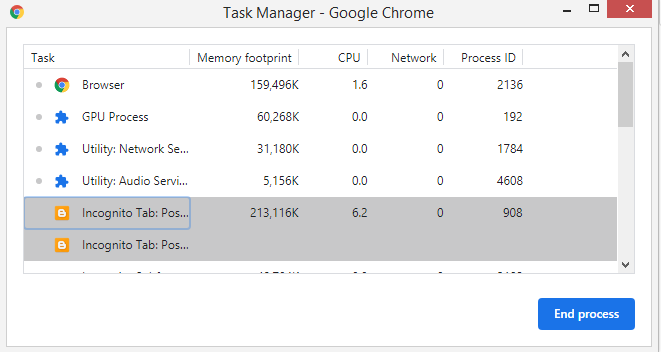 Enable Chrome's Task Manager: