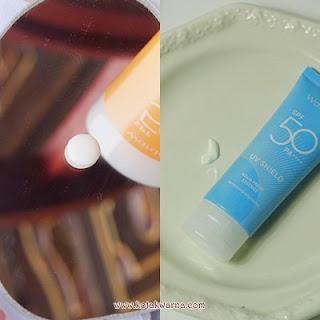 Wardah susncreen spf 50, tekstur sunscreen wardah terbaru