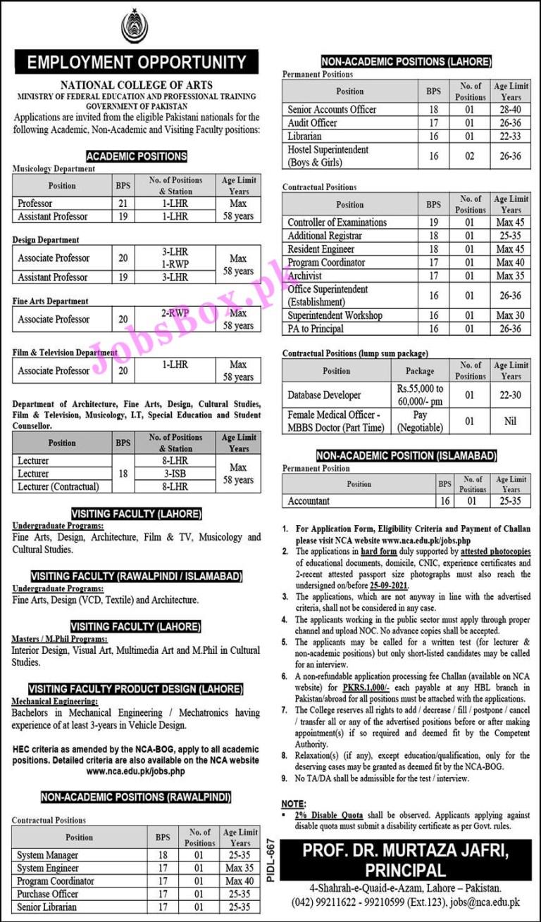 www.nca.edu.pk/jobs.php - NCA National College of Arts Jobs 2021 in Pakistan