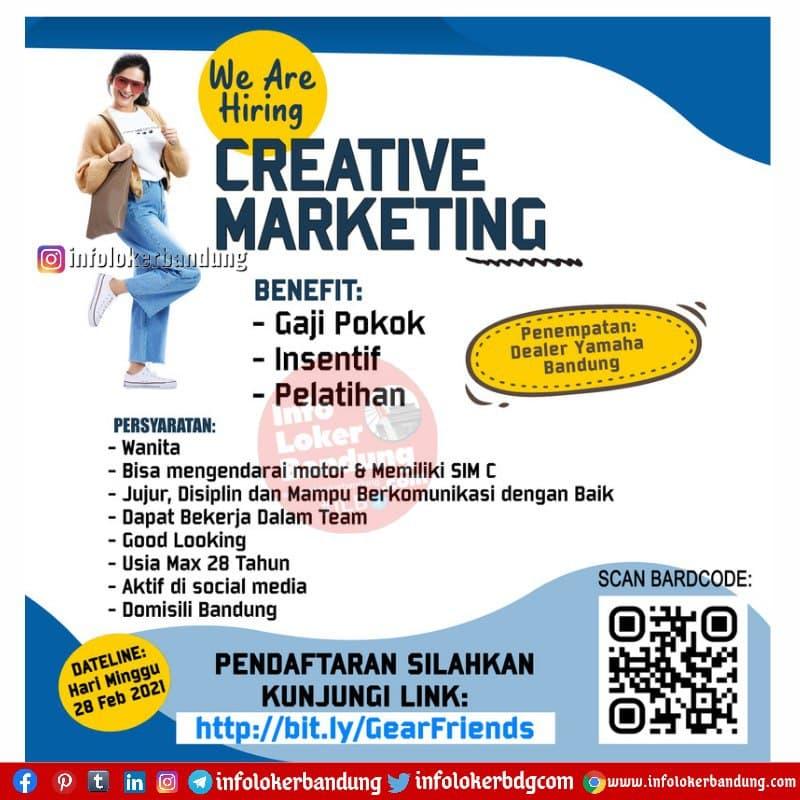 Lowongan Kerja Creative Marketing Yamaha Jawa Barat 2021