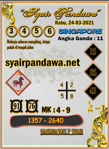 Gambar Syair Pandawa Sgp rabu 24 maret 2021