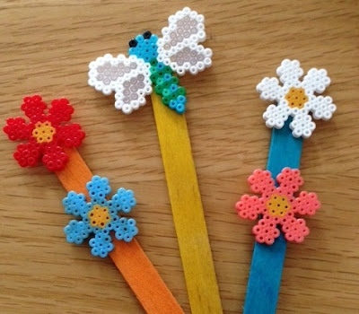 Mini Hama bead plant stick decorations