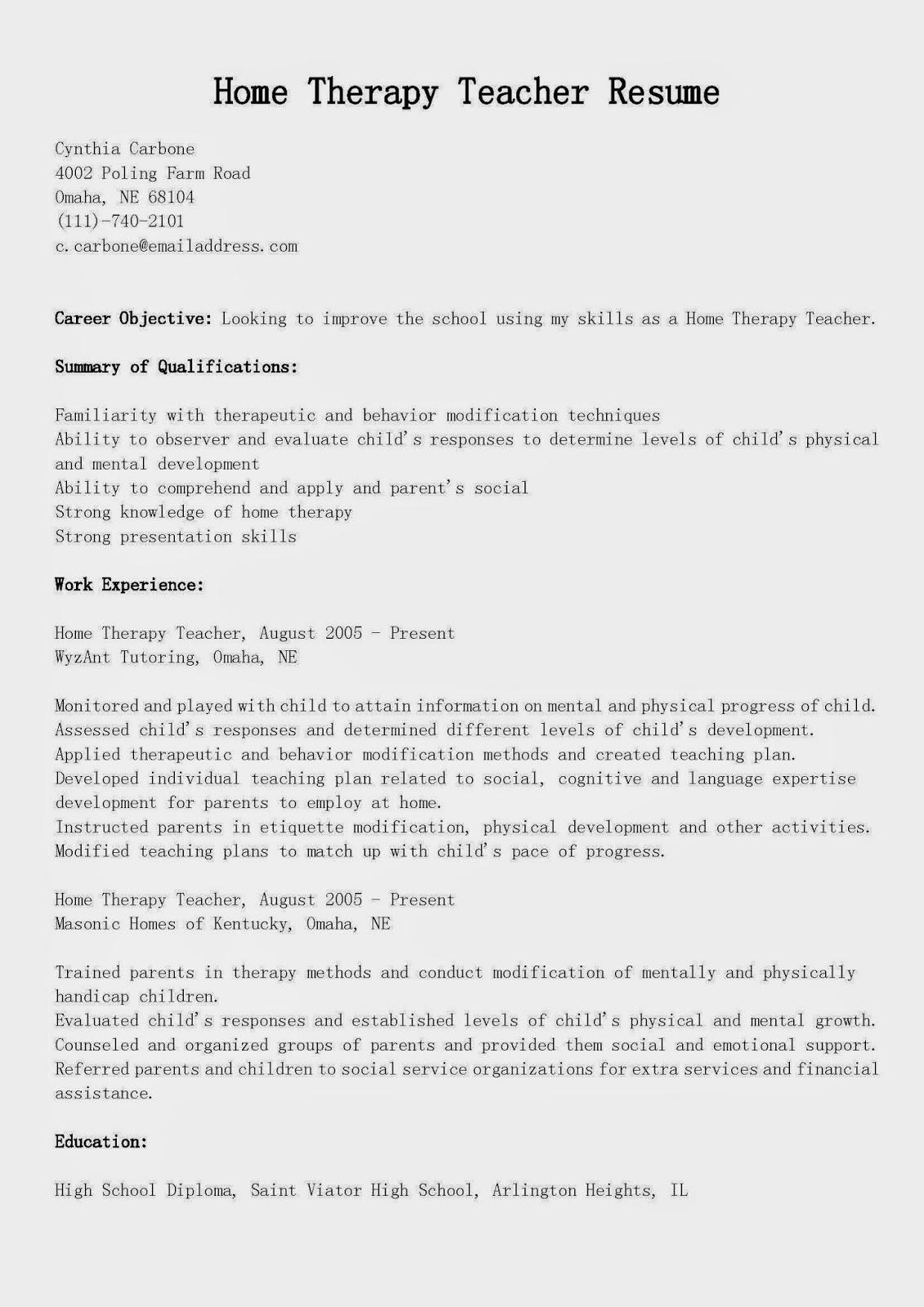 resume samples  home therapy teacher resume sample