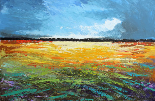 textured abstract acrylic landscape painting with clouds